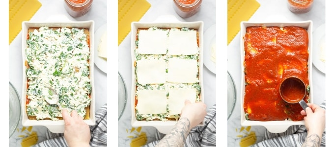 Collage of photos showing how to make homemade lasagna