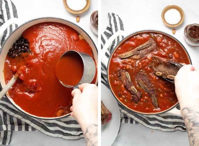 Collage of photos showing how to make short rib chili