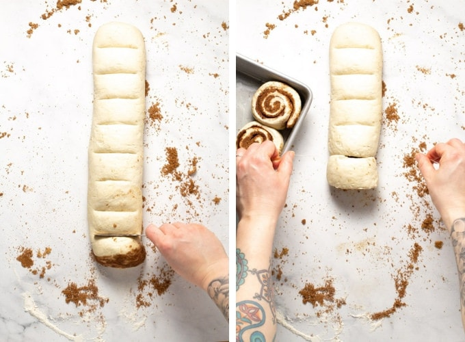 Collage of photos showing how to make pizza dough cinnamon rolls