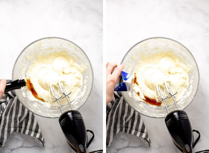 Collage of photos showing how to make cream cheese frosting for cinnamon rolls