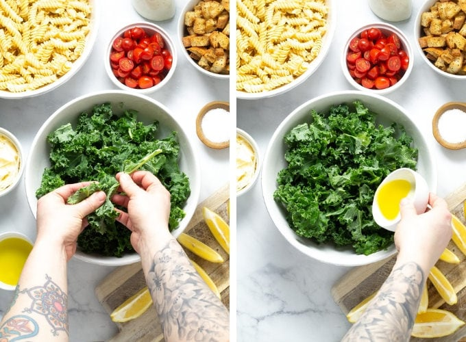 Collage of photos showing how to make Kale Caesar Pasta Salad