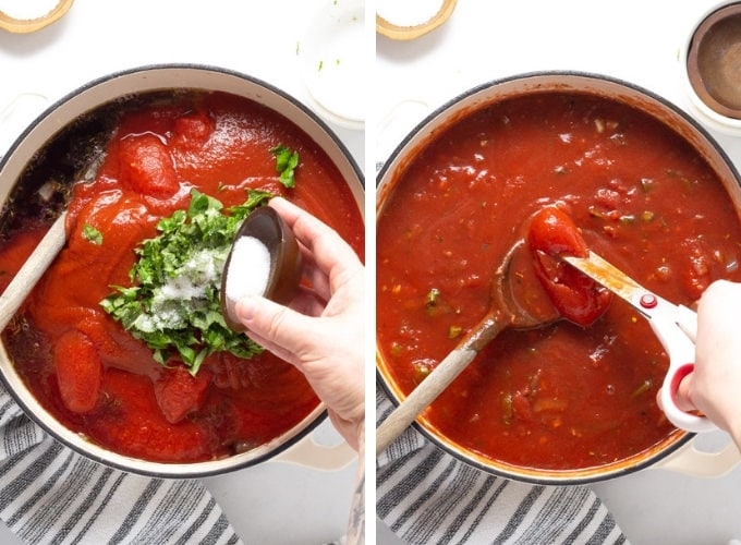 Collage of photos showing how to make spaghetti sauce