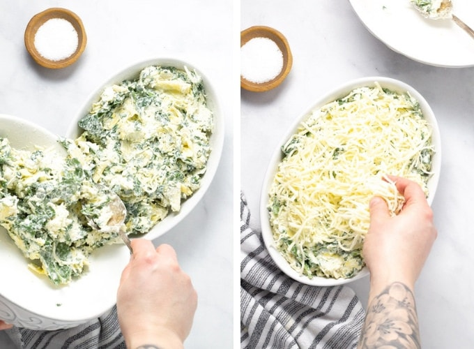 Collage of photos showing how to make spinach and artichoke dip