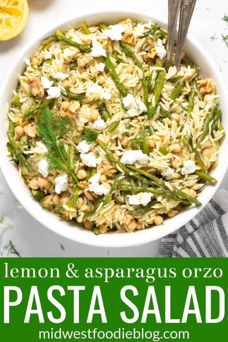 Pinterest pin of orzo pasta salad
