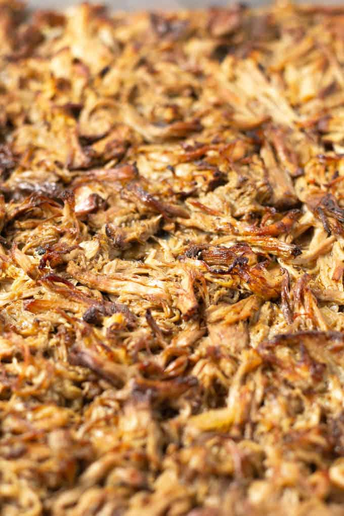 Collage of photos showing how to make slow cooker beer braised pork carnitas