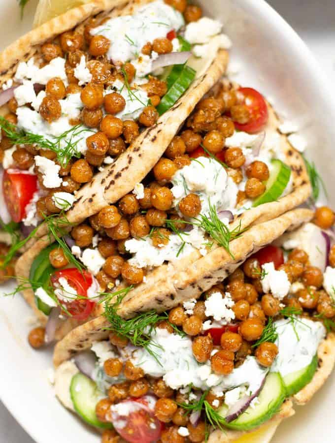 Overhead shot of a platter of chickpea gyros