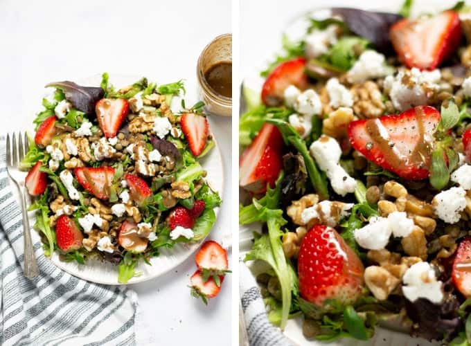 Collage of photos showing a strawberry salad with goat cheese and balsamic vinaigrette