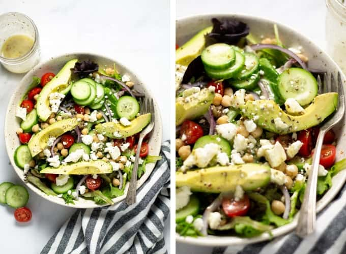 Collage of photos showing a bowl filled with Greek salad topped with feta cheese