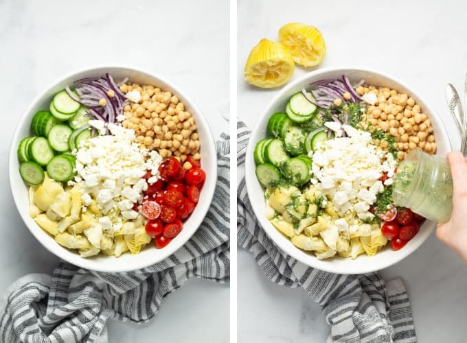 Collage of photos showing how to make mediterranean couscous salad