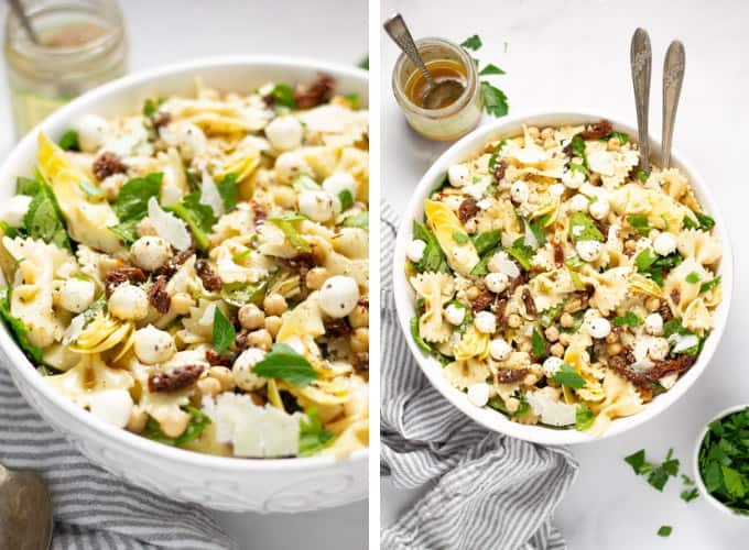 Collage of photos showing a bowl pasta salad garnished with fresh parsley