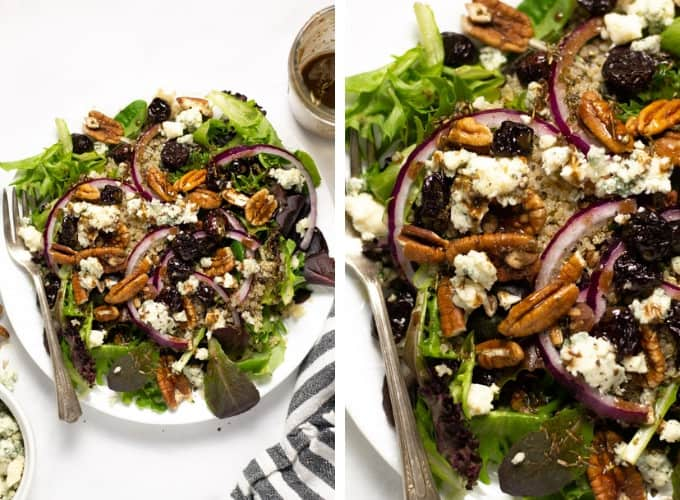 Collage of photos of a dried cherry salad with Gorgonzola cheese and red onions