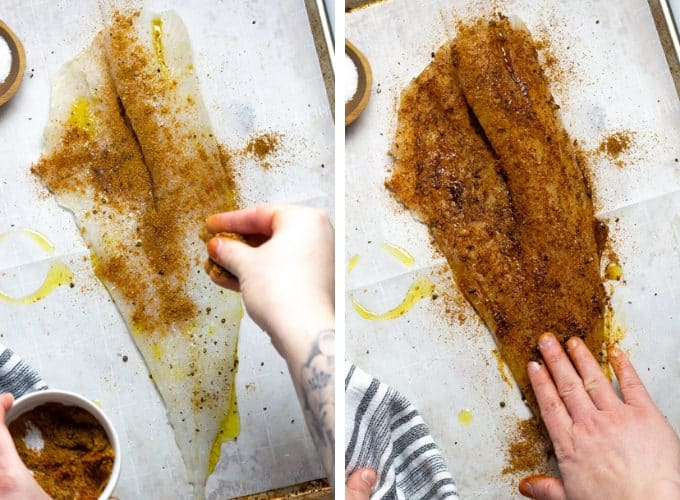 Collage of photos showing how to make baked fish tacos