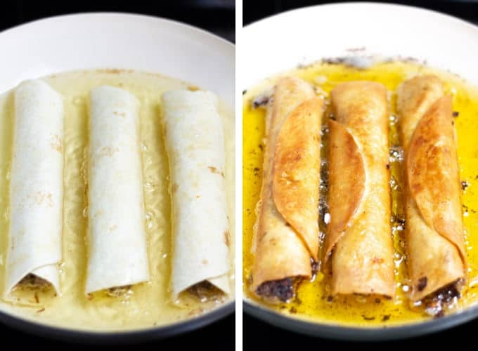 Collage of photos showing how to make flautas
