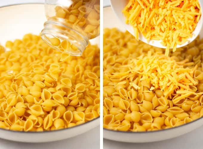 Collage of photos showing how to make one pot macaroni and cheese