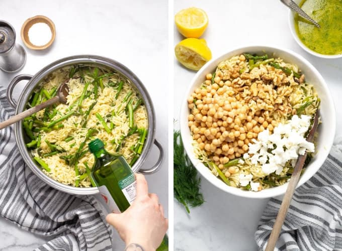 Collage of photos showing how to make orzo pasta salad