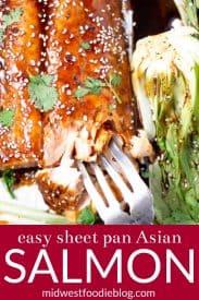 Pinterest pin of sheet pan salmon garnished with fresh cilantro