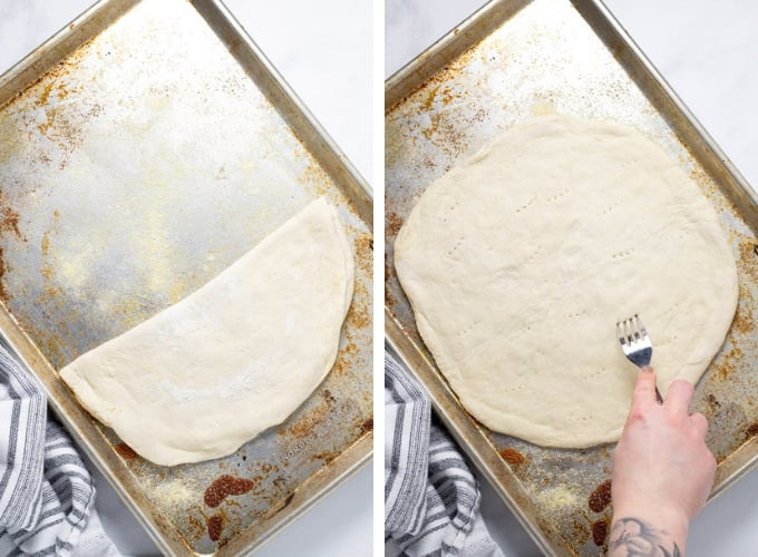 Collage of photos showing how to make loaded baked potato pizza