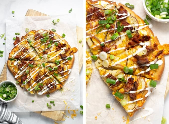 Collage of overhead shots of a baked potato pizza garnished with sour cream and green onion