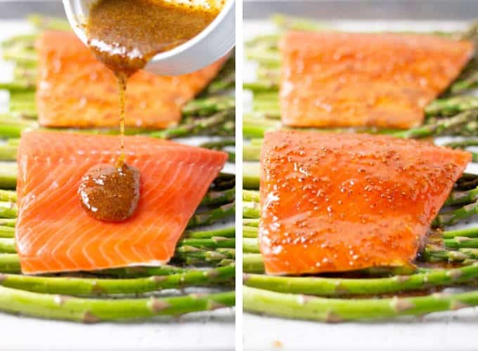 Collage of photos showing how to make sheet pan salmon