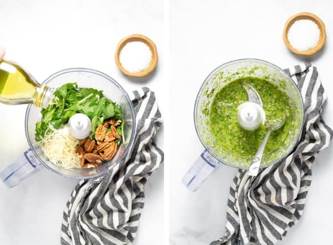 Collage of photos showing how to make arugula pesto