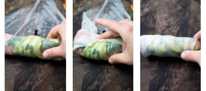 Collage of photos showing how to roll vegetarian spring rolls