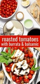 Pinterest pin of roasted tomatoes with burrata