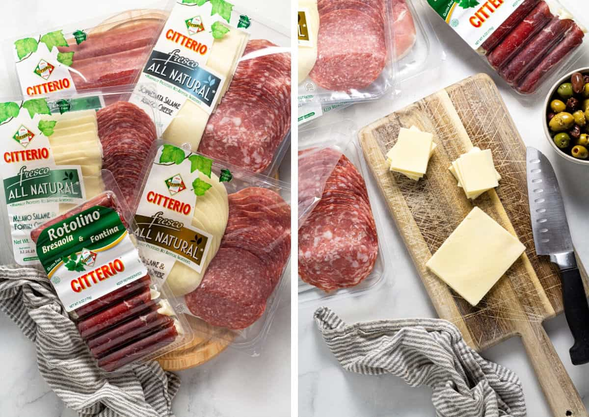 Collage of photos showing meats and cheeses used to create a cheese board