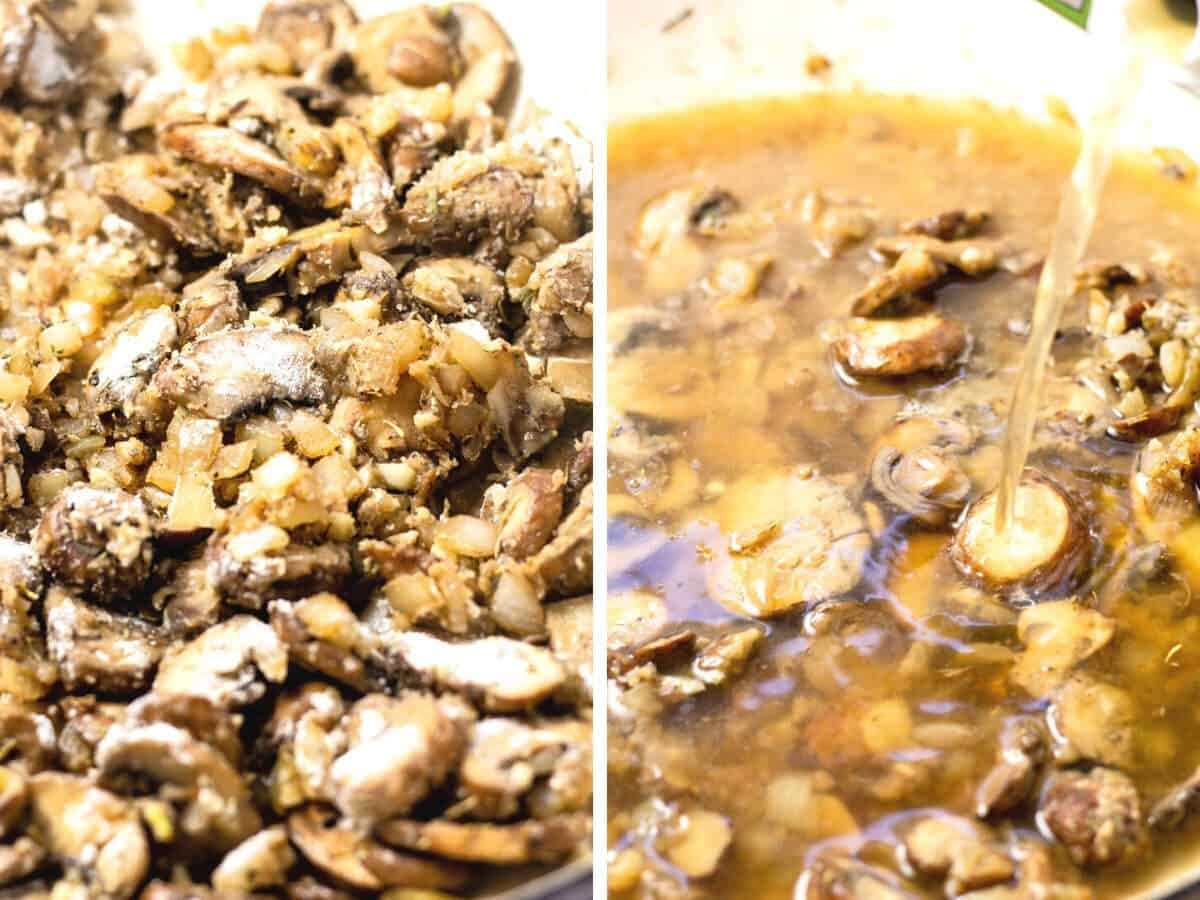 Collage of photos showing how to make mushroom stroganoff