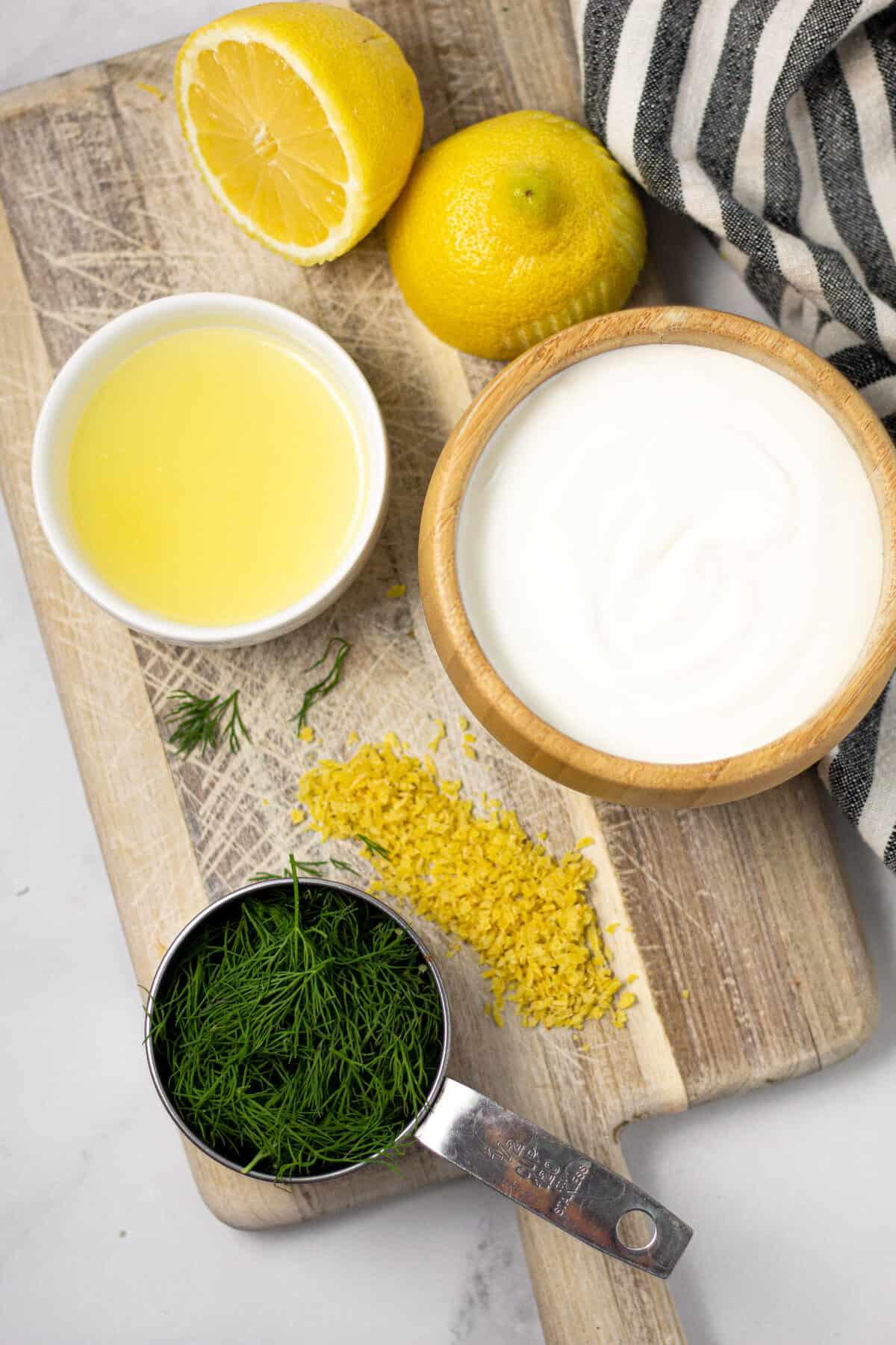 Overhead shot of ingredients to make homemade yogurt sauce