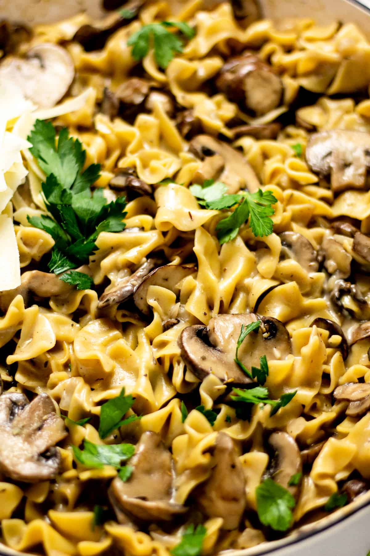 Close up shot of a the finished dish one pot mushroom stroganoff garnished with fresh parsley and Parmesan