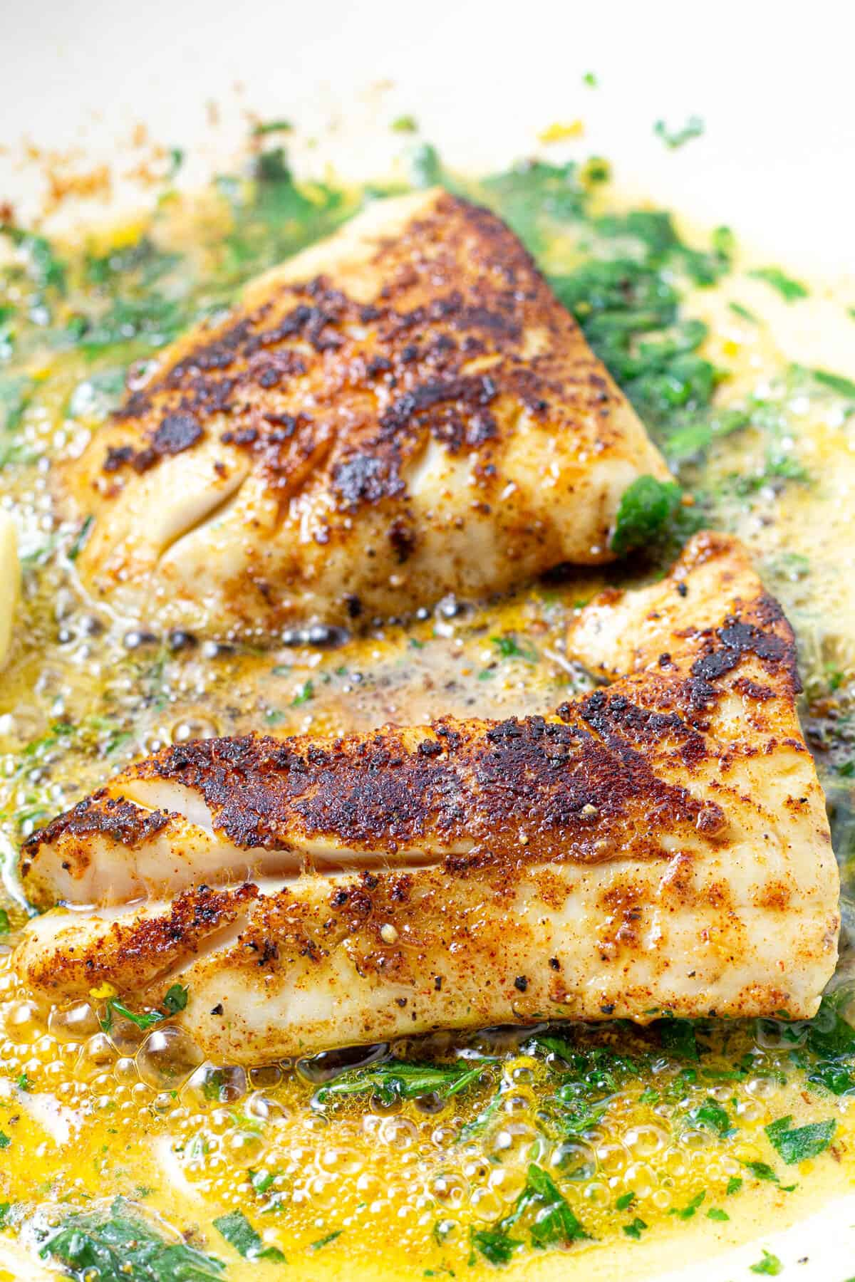 Close up shot of two fillets of fish in a lemon butter sauce in a pan