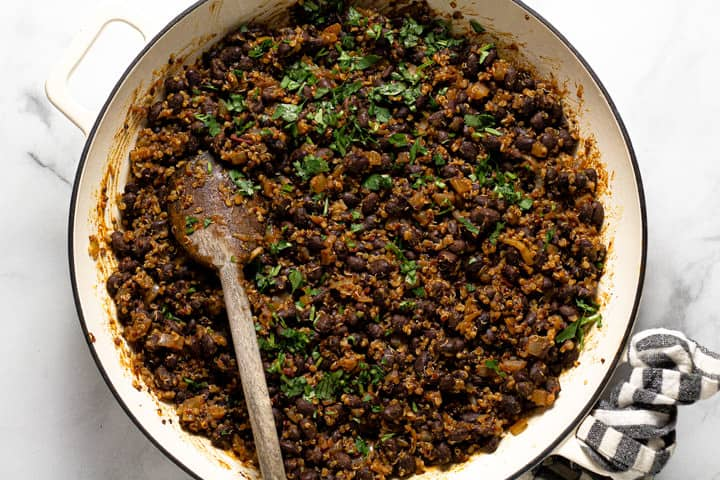 Overhead shot of a white pan filled with vegan taco meat