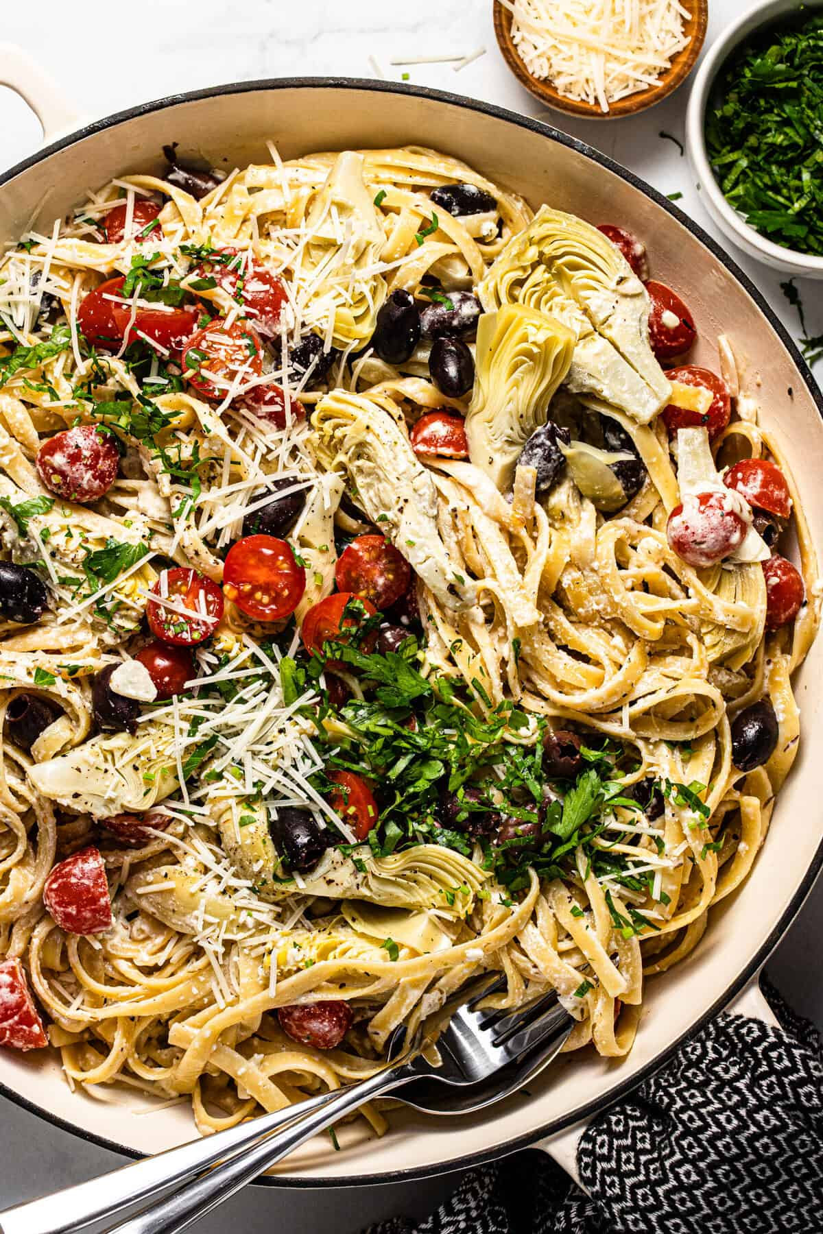 Overhead shot of a large pan filled with Greek pasta