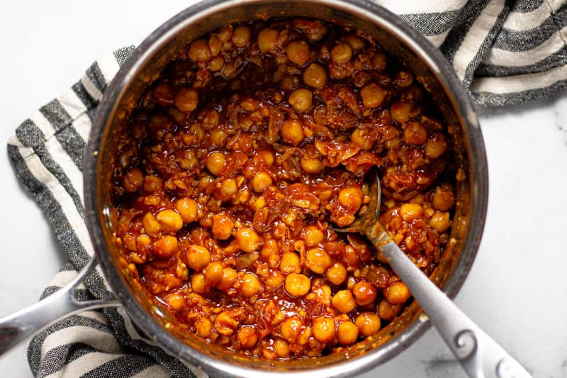 Saucepan filled with barbecue chickpeas