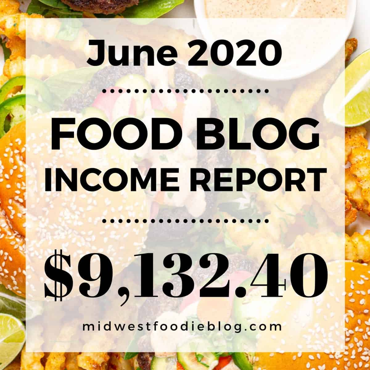 Stylized text stating food blog income report June 2020 $9132.40