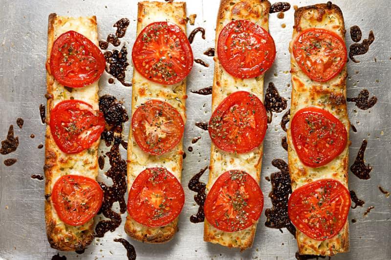 Freshly baked tomato and mozzarella garlic cheese bread