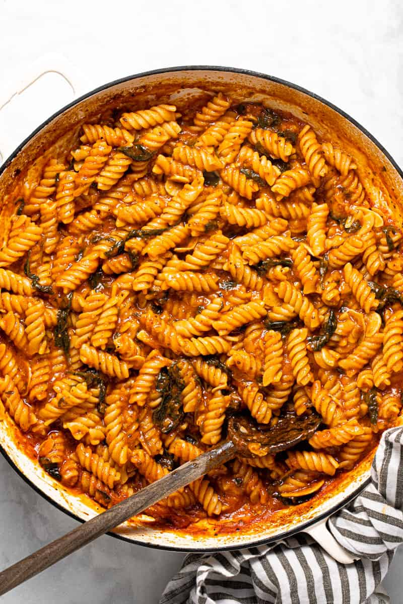 Large white pan filled with freshly baked no boil pasta dinner