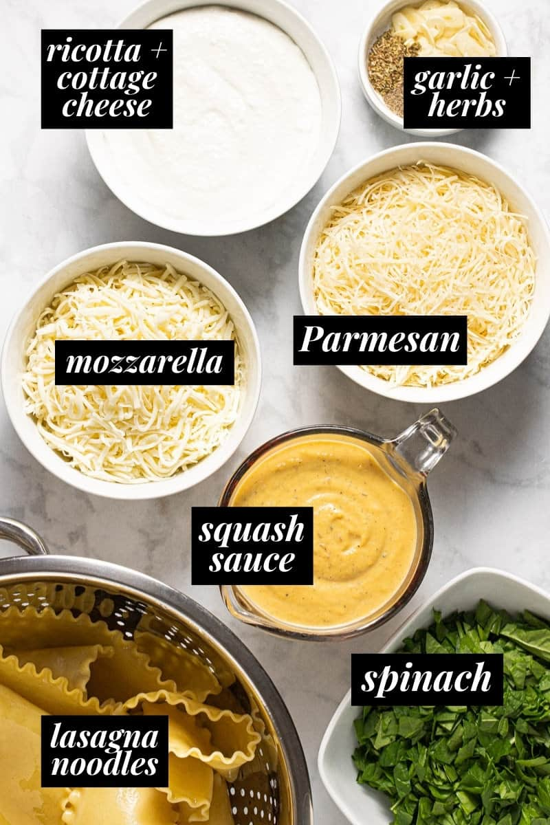 White marble counter top with ingredients to make squash lasagna roll ups