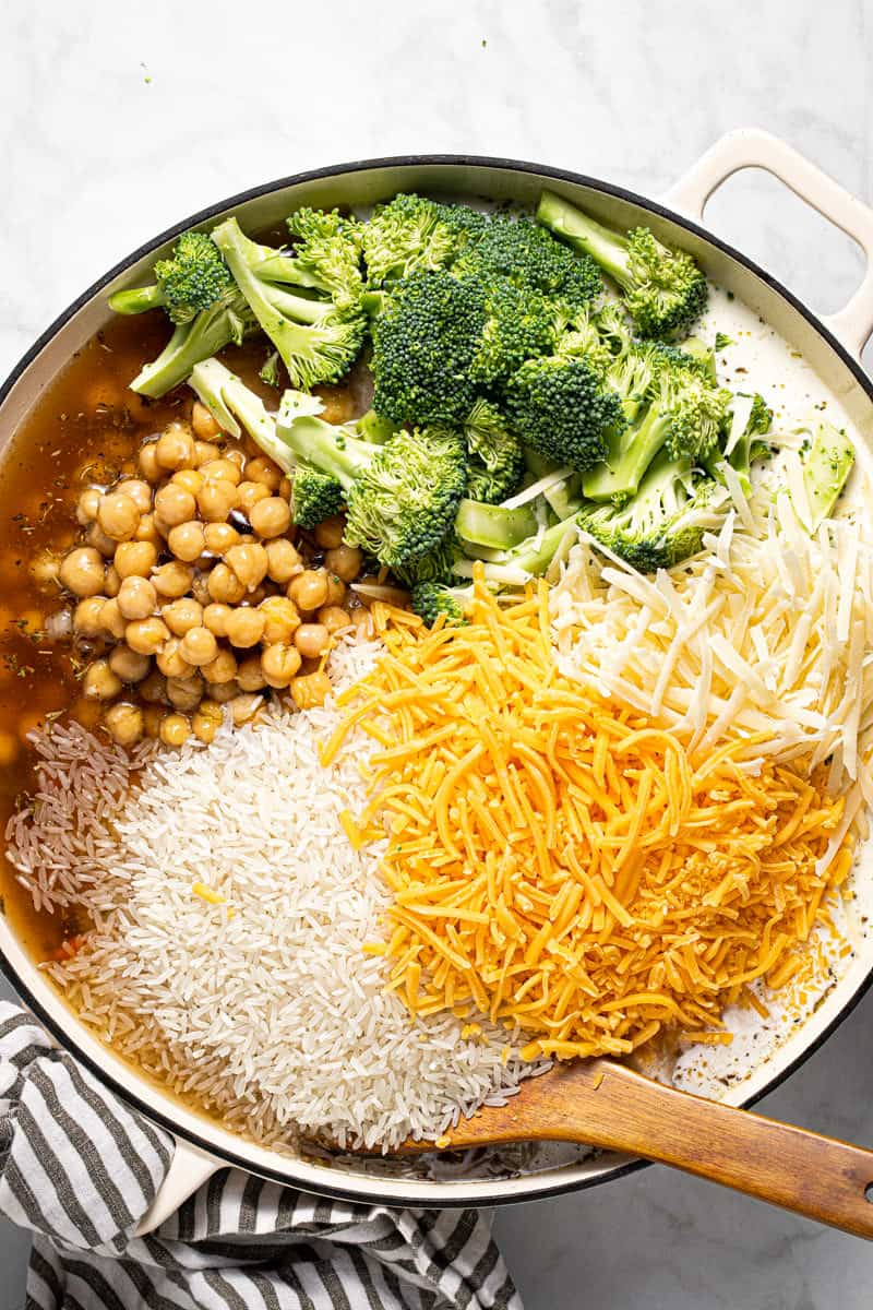 Photos showing step by step how to make one pan chickpeas and rice with broccoli