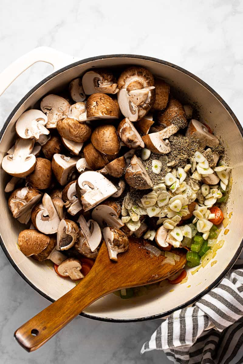 Photos showing step by step how to make vegan mushroom wild rice soup