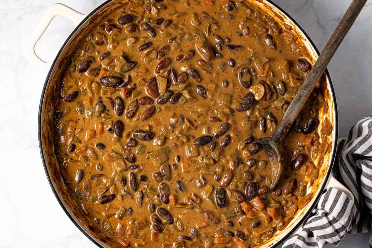Large white pan filled with homemade red beans and rice