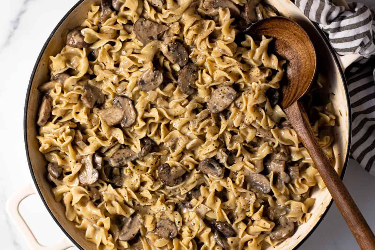 Large sauté pan filled with one pot mushroom stroganoff