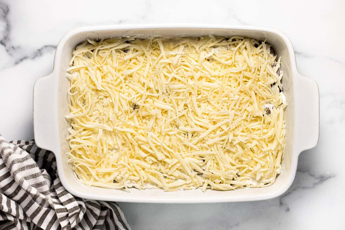White baking dish filled with ingredients