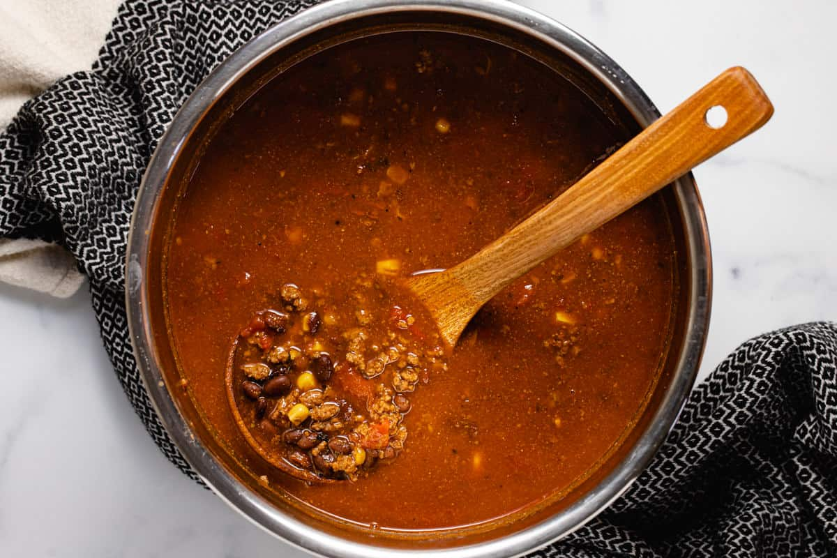 Instant pot insert with ingredients to make taco soup