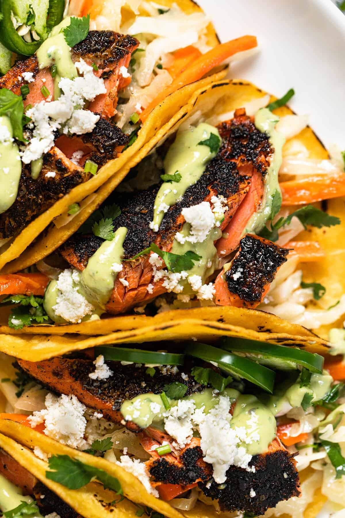 White platter filled with blackened salmon tacos garnished with cilantro