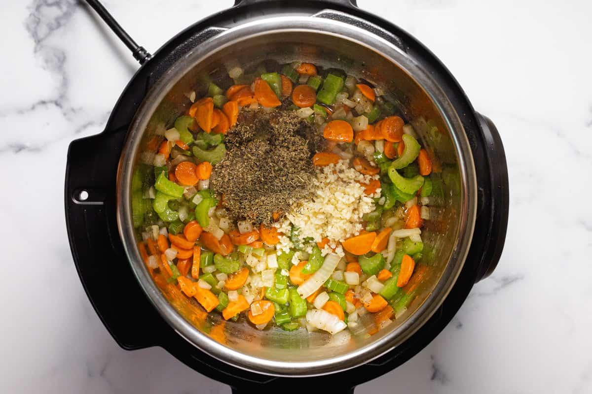 Sautéed veggies inside an instant pot